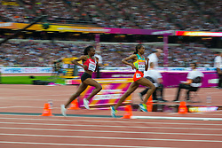 London, August 13 2017 . Almaz Ayana, Ethiopia, and Hellen Onsando Obiri, Kenya, lead the women's 5000m final on day ten of the IAAF London 2017 world Championships at the London Stadium. © Paul Davey.