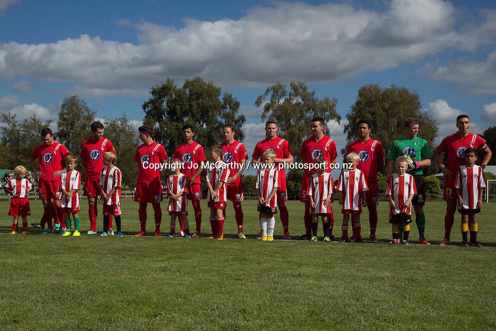 Pregame team photo - Waitakere United. ASB Premiership - Waikato BOP v Waitakere. John Kerkhof Park, Cambridge, New Zealand, Saturday 15 February 2014. Photo: Jo McCarthy / www.photosport.co.nz