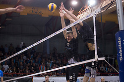 Saso Stalekar and Primoz Vidmar of Calcit Volley during 3rd Leg volleyball match between OK Calcit Volley and Salonit Anhovo in Semifinal of 1. DOL Slovenian National Championship 2017/18, on April 15, 2018 in Sports hall Kamnik, Kamnik, Slovenia. Photo by Urban Urbanc / Sportida