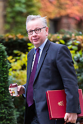 London, October 31 2017. Secretary of State for Environment, Food and Rural Affairs Michael Gove attends the UK cabinet meeting at Downing Street. © Paul Davey