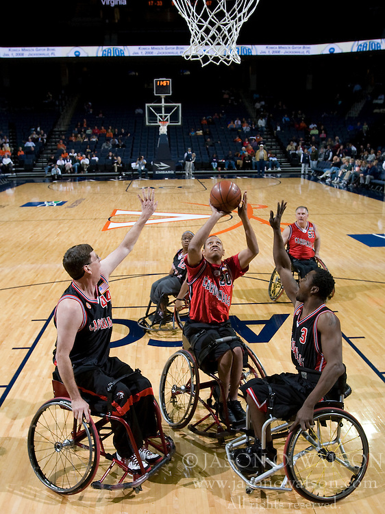 The Charlottesville Cardinals Wheelchair Basketball Team played an exhibition game during halftime as The Virginia Cavaliers women's basketball team defeated the Davidson Wildcats 83-68 at the John Paul Jones Arena in Charlottesville, VA on December 20, 2007.