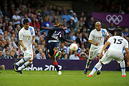 Daniel Sturridge of team GB has a shot at goal. London 2012 Olympic games, mens Olympic football, 1st round, group A match, Great Britain v Uruguay at the Millennium Stadium in Cardiff on Wed 1st August 2012. pic by Andrew Orchard, Andrew Orchard sports photography,