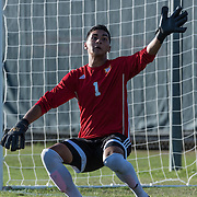 November 4, 2016 - Fullerton, CA - Fullerton College Freshman Goalkeeper Julian Ochoa (1) watches the ball sail past his hand in the second half in a 0-2 loss to Golden West College