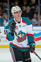 KELOWNA, CANADA - NOVEMBER 11: Kole Lind #16 of the Kelowna Rockets laughs on the ice against the Red Deer Rebels on November 11, 2017 at Prospera Place in Kelowna, British Columbia, Canada.  (Photo by Marissa Baecker/Shoot the Breeze)  *** Local Caption ***