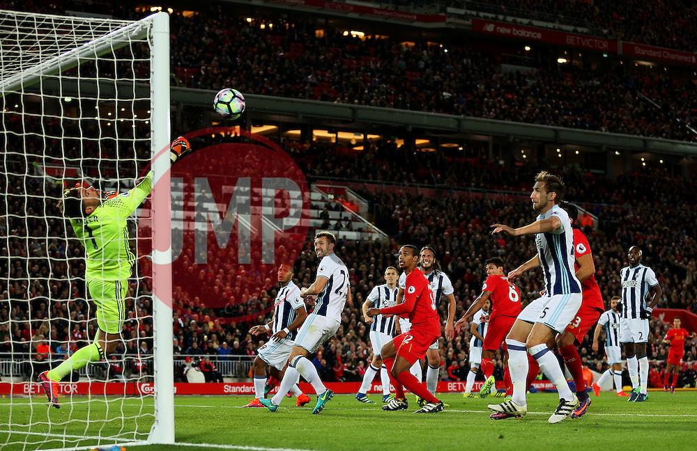 Ben Foster of West Bromwich Albion makes a save from a Dejan Lovren header - Mandatory by-line: Matt McNulty/JMP - 22/10/2016 - FOOTBALL - Anfield - Liverpool, England - Liverpool v West Bromwich Albion - Premier League
