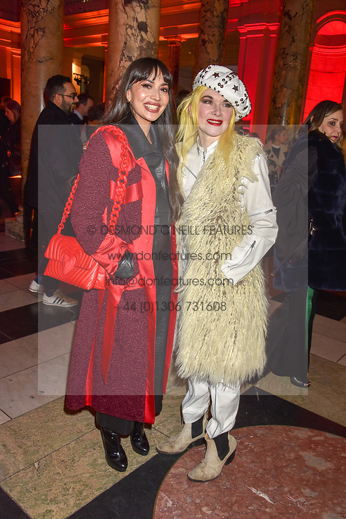 Left to right, Zara Martin and Pam Hogg at the Mary Quant VIP Preview at The Victoria & Albert Museum, London, England. 03 April 2019. <br /> <br /> ***For fees please contact us prior to publication***
