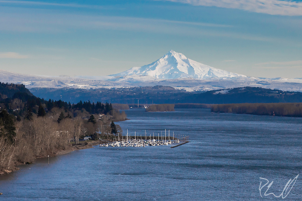 Mt Hood with Columbia River in foreground, taken from the Glenn Jackson Bridge