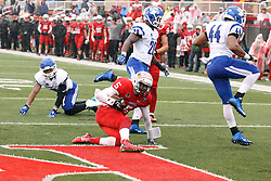 31 October 2015:  Tre Roberson(5) keeps the ball on an option play and leaps for the end zone during the NCAA FCS Football between Indiana State Sycamores and Illinois State Redbirds at Hancock Stadium in Normal IL (Photo by Alan Look)