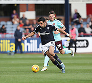 30th September 2017, Dens Park, Dundee, Scotland; Scottish Premier League football, Dundee versus Hearts; Dundee's Sofien Moussa races past Hearts' Ross Callachan