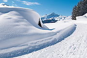 Winterwanderweg zwischen Busalp und Bort mit Sicht auf Lauberhorn