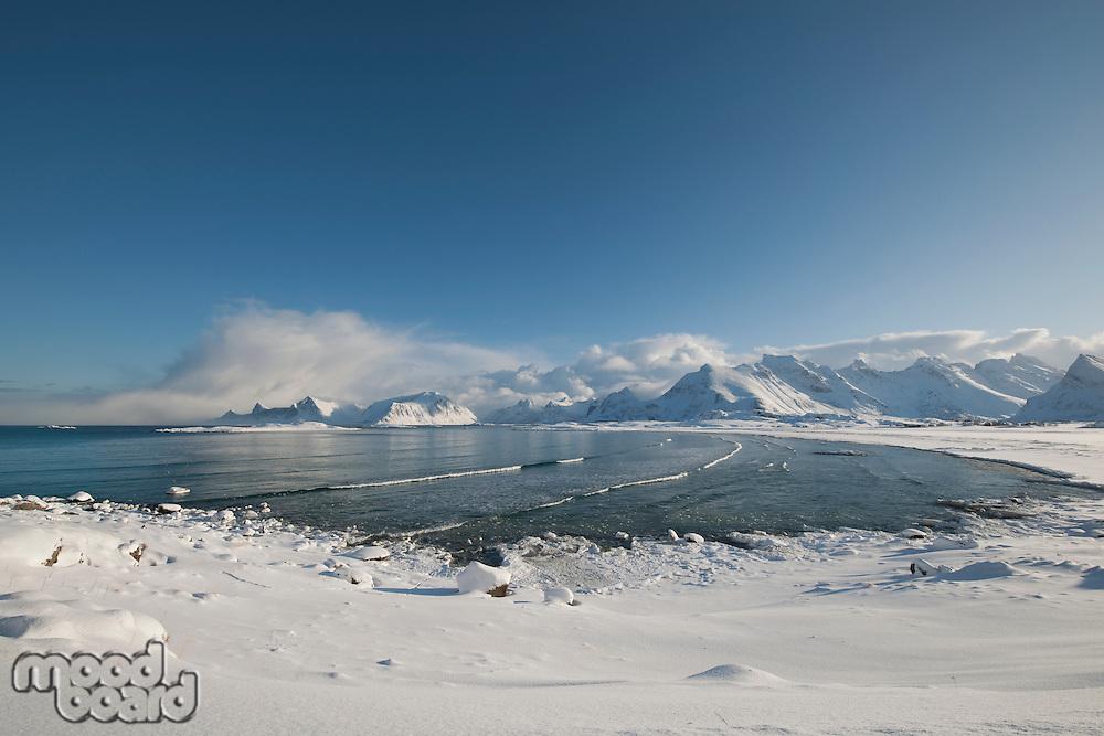 Coastal landscape of Moskensoy in the Loftofen archipelago Norway