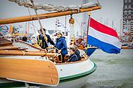 In Princess Lelystad Princess Beatrix takes a fleet review with her private yacht De Groene Draeck. A large fleet of historic ships that have a relation with the history of the Zuiderzee, the impoldering and the current IJsselmeer had gathered at the Bataviahaven. The princess attended the celebration of 100 years of Zuiderzee law.  copyrught robin utrecht BIDDINGHUIZEN / LELYSTAD - Prinses Beatrix tijdens de viering van 100 jaar Zuiderzeewet. De wet uit 1918 legde de basis voor de ontwikkeling van Nederland als waterland, die onder andere leidde tot inpoldering van de Wieringermeer en de afsluiting van de Zuiderzee met de Afsluitdijk.