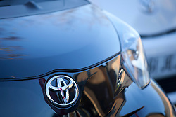 © Licensed to London News Pictures. 14/11/2012. London, UK. The Toyota logo is seen on a car at a dealership in London today (14/11/12) after the car manufacturer issued its second recall notice in two months that may affect up to 2.8 Million cars. Photo credit: Matt Cetti-Roberts/LNP