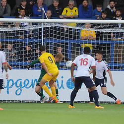 TELFORD COPYRIGHT MIKE SHERIDAN 25/8/2018 - GOAL. Anthony Dudley of Chester scores to make it 1-3 during the Vanarama Conference North fixture between AFC Telford United and Chester City.
