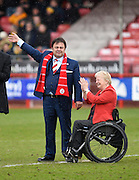 Crawley Town owner Ziya Eren meets the fans, accompanied by Crawley 2015-16 mayor and councillor Chris Cheshire before the Sky Bet League 2 match between Crawley Town and Oxford United at the Checkatrade.com Stadium, Crawley, England on 9 April 2016. Photo by David Charbit.