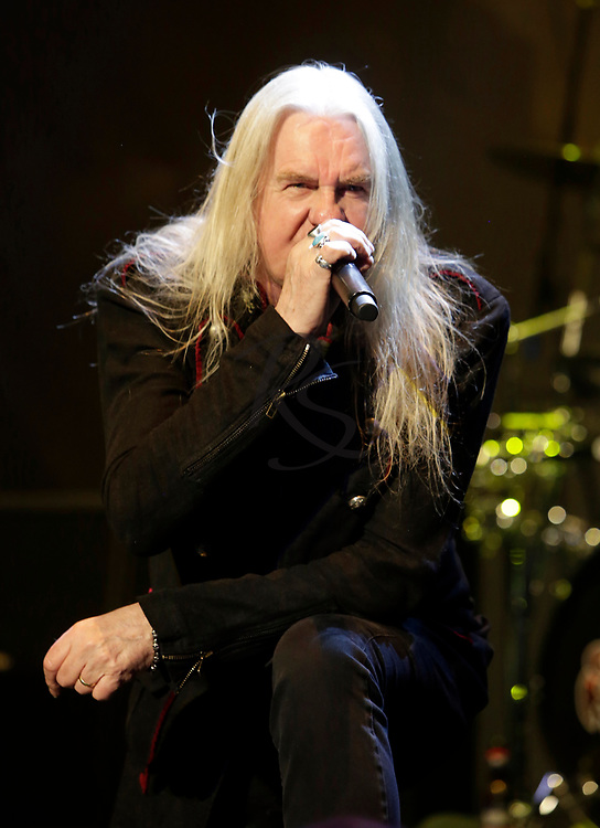 Biff Byford of Saxon performs on Tuesday, April 24, 2018, in Phoenix, Arizona. (AP Images/Rick Scuteri)