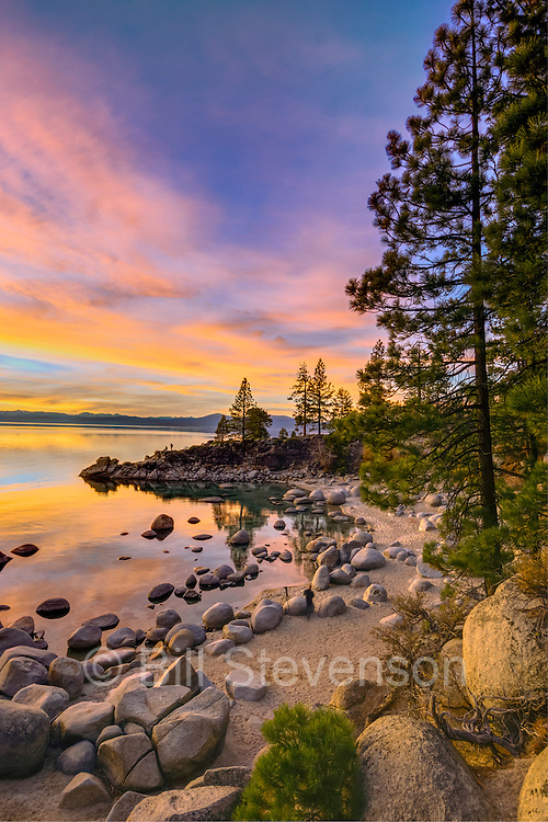 A picture of an amazing sunset at Secret Cove on the east shore of Lake Tahoe in Nevada. The high clouds that moved in on this afternoon were a dead giveaway. It was going to be a lightshow at sunset.