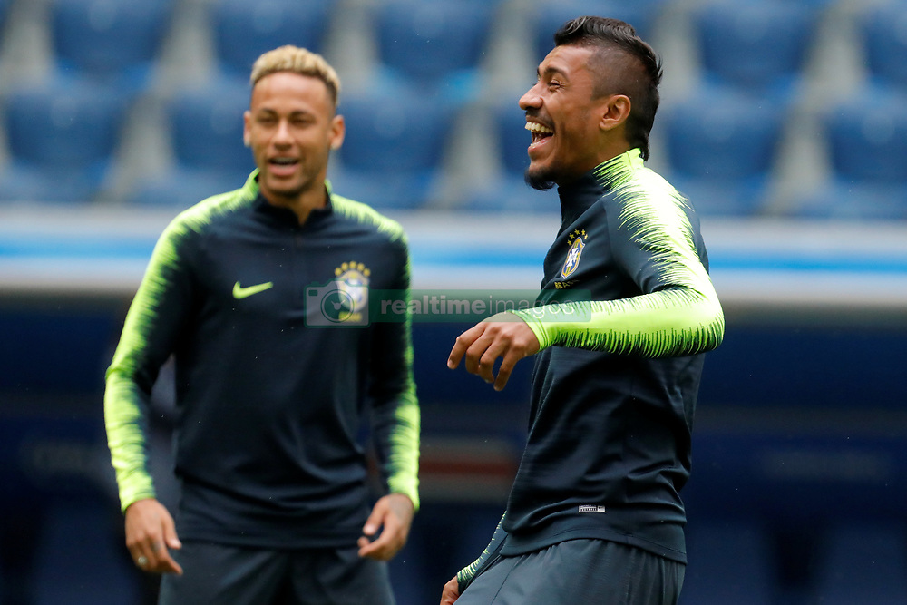 June 21, 2018 - Saint Petersburg, Russia - Neymar (L) and Paulinho during a Brazil national team training session during the FIFA World Cup 2018 on June 21, 2018 at Saint Petersburg Stadium in Saint Petersburg, Russia. (Credit Image: © Mike Kireev/NurPhoto via ZUMA Press)