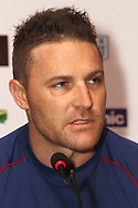 Otago Volts captain Brendon McCullum during the Otago Volts team arrival press conference prior to the start of the Karbonn Smart CLT20 2013 held at the JW Marriott Hotel in Mohali on the 15th September 2013<br /> <br /> Photo by Shaun Roy-CLT20-SPORTZPICS <br /> <br /> Use of this image is subject to the terms and conditions as outlined by the BCCI. These terms can be found by following this link:<br /> <br /> http://www.sportzpics.co.za/image/I0000SoRagM2cIEc