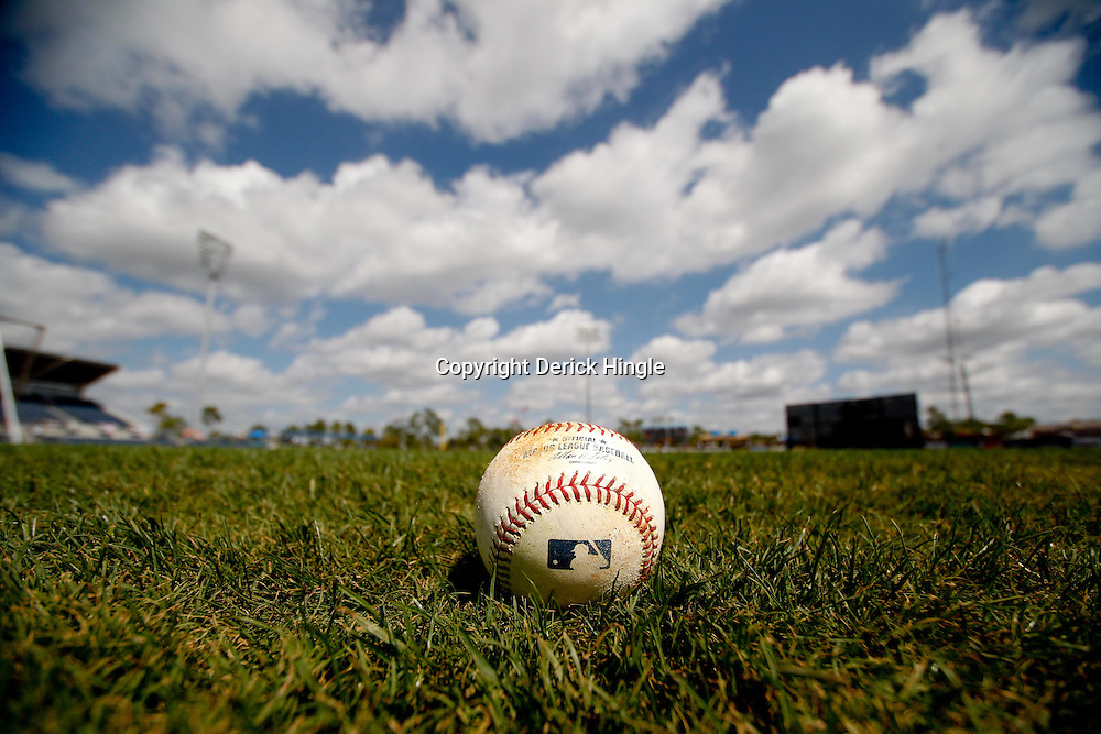 March 8, 2011; Port Charlotte, FL, USA; A detailed view of a baseball on the field before a spring training exhibition game between the Toronto Blue Jays and the Tampa Bay Rays at Charlotte Sports Park.  Mandatory Credit: Derick E. Hingle-US PRESSWIRE