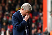 Crystal Palace manager Roy Hodgson looks dejected during the Premier League match between Bournemouth and Crystal Palace at the Vitality Stadium, Bournemouth, England on 7 April 2018. Picture by Graham Hunt.
