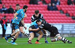Tom Lindsay of Bristol Bears tackles Evgeny Elgin of Enisei-STM - Mandatory by-line: Nizaam Jones/JMP - 19/01/2019 - RUGBY - Ashton Gate Stadium - Bristol, England - Bristol Bears v Enisei-STM - European Rugby Challenge Cup