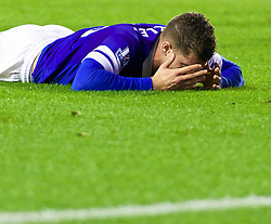 LIVERPOOL, ENGLAND - Wednesday, April 16, 2014: Everton's Ross Barkley looks dejected after missing a chance against Crystal Palace during the Premiership match at Goodison Park. (Pic by David Rawcliffe/Propaganda)