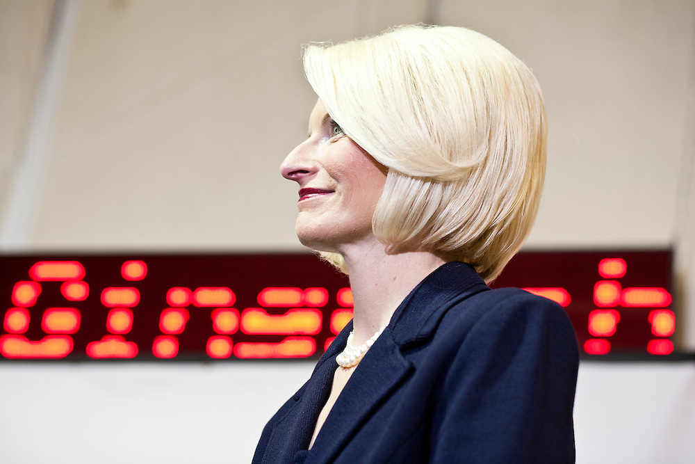 Callista Gingrich, wife of Republican presidential candidate Newt Gingrich, listens during a rally at her husband's campaign office on Monday, January 2, 2012 in Davenport, IA.