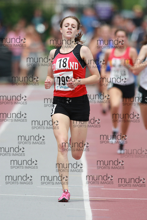 (London, Ontario}---05 June 2010) Carise Thompson of Highland - Dundas  competes in the 3000m finals at the 2010 OFSAA Ontario High School Track and Field Championships in London, Ontario,  June 05, 2010. Photograph copyright Dave Chidley / Mundo Sport Images, 2010.