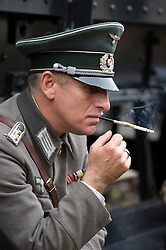 Renactors portraying second world war German troops prepare for a battle reenactment at the  Elsecar 1940s Weekend <br />