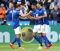 Leicester City's Riyad Mahrez celebrates with Leicester City's Leonardo Ulloa and Leicester City's Daniel Drinkwater - Photo mandatory by-line: Robbie Stephenson/JMP - Mobile: 07966 386802 - 09/05/2015 - SPORT - Football - Leicester - King Power Stadium - Leicester City v Southampton - Barclays Premier League