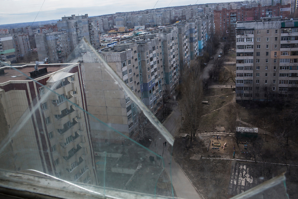 LUHANSK, UKRAINE - MARCH 15, 2015: The Mirny neighborhood where Pavel Pavlov lives in his mother's apartment in Luhansk, Ukraine. CREDIT: Brendan Hoffman for The New York Times