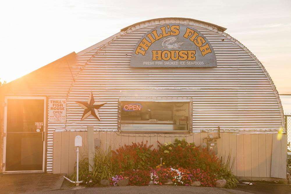 Thills Fish House on Lake Superior at the downtown waterfront of Marquette, Michigan.