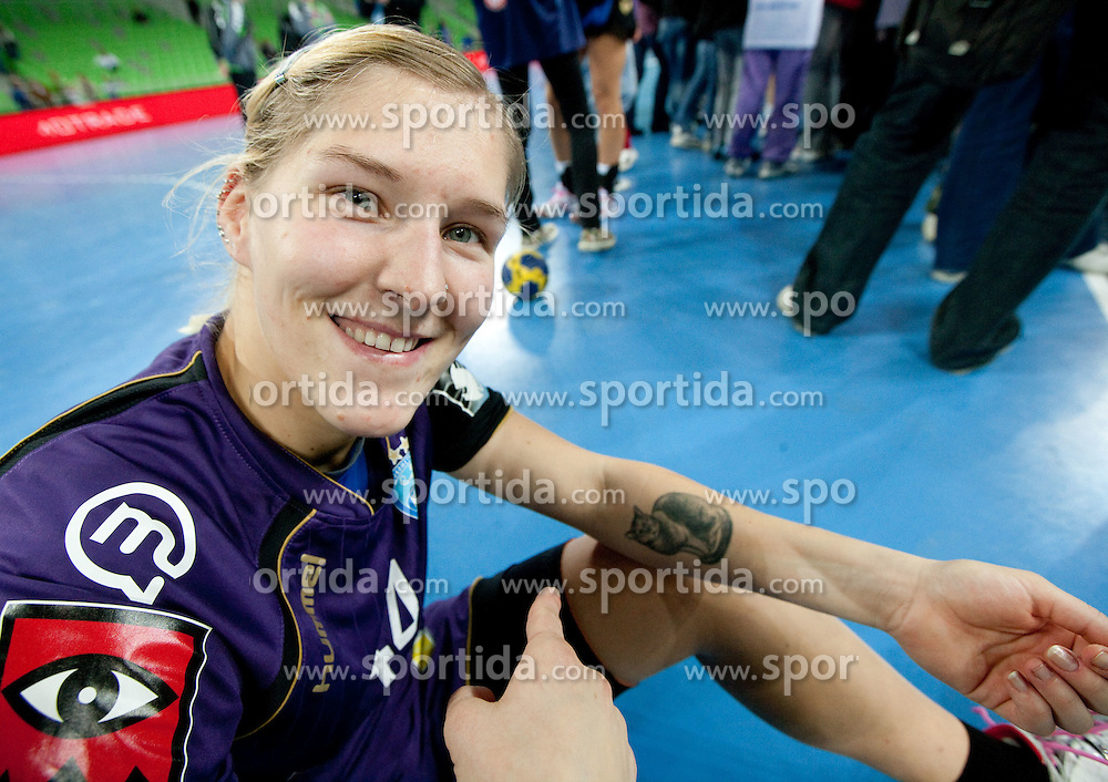 Maja Zrnec with tattoo of her cat after the handball match between RK Krim Mercator (SLO) and Gyori Audi Eto KC (HUN) in 3rd Round of Women's Champions league, on October 23, 2010 at SRC Stozice, Ljubljana, Slovenia. Gyori defeated Krim 34 - 30. (Photo By Vid Ponikvar / Sportida.com)