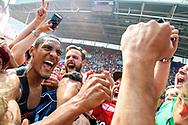 28-05-2017: Voetbal: FC Utrecht v AZ: Utrecht<br /> <br /> (L-R) FC Utrecht speler Sebastien Haller na afloop tussen de supporters van het Eredivisie duel tussen FC Utrecht en AZ op 28 mei 2017 in stadion Galgenwaard tijdens de finale play-offs <br /> <br /> Finale Play-offs, Eredivisie - Seizoen 2016 / 2017<br /> <br /> Foto: Gertjan Kooij