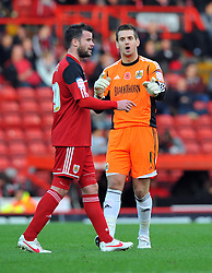 Bristol City Goalkeeper, Tom Heaton talks with Bristol City's Matthew Bates - Photo mandatory by-line: Joe Meredith/JMP  - Tel: Mobile:07966 386802 17/11/2012 - Bristol City v Blackpool - SPORT - FOOTBALL - Championship -  Bristol  - Ashton Gate Stadium -