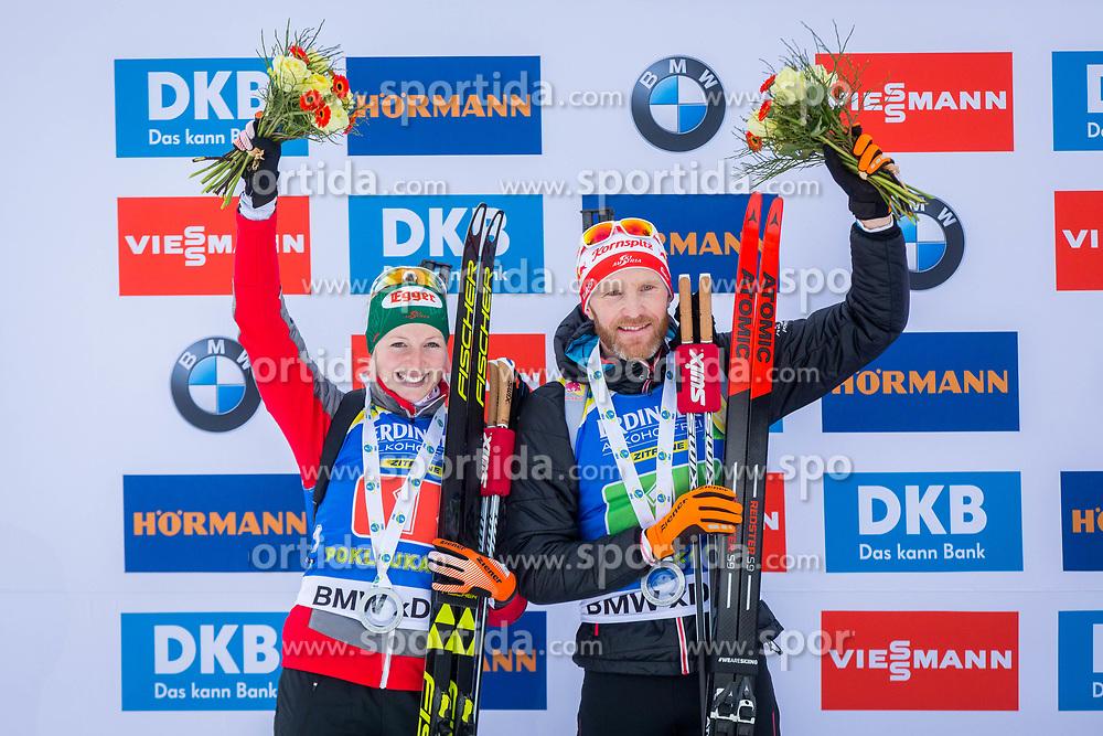 Lisa Theresa Hauser (AUT) and Simon Eder (AUT) during Single Mixed Relay at day 1 of IBU Biathlon World Cup 2018/19 Pokljuka, on December 2, 2018 in Rudno polje, Pokljuka, Pokljuka, Slovenia. Photo by Ziga Zupan / Sportida