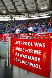 A Liverpool banner hangs in the stands ahead of the UEFA Champions League, Semi Final, Second Leg at the Stadio Olimpico, Rome.