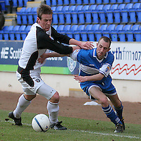 Gretna's Allan Jenkins  and St Johnstone's Willie McLaren in action. Scottish First Division match on 27th January 2007. McDiarmid Park Perth