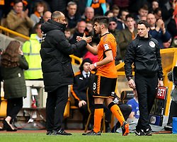 Wolverhampton Wanderers manager Nuno shakes hands with Ruben Neves of Wolverhampton Wanderers - Mandatory by-line: Robbie Stephenson/JMP - 15/04/2018 - FOOTBALL - Molineux - Wolverhampton, England - Wolverhampton Wanderers v Birmingham City - Sky Bet Championship