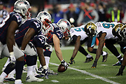 The New England Patriots offensive line gets set at the line of scrimmage opposite the Jacksonville Jaguars defensive line during the AFC Championship NFL playoff football game against the Jacksonville Jaguars Patriots, Sunday, Jan. 21, 2018 in Foxborough, Mass. The Patriots won the game 24-20. (©Paul Anthony Spinelli)