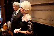 Former Speaker of the House Newt Gingrich, left, and his wife Callista Gingrich, right, attend a screening of the movie A City Upon A Hill, which the two of them host, on Friday, April 29, 2011 in Washington, DC.