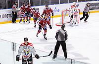 2019-12-01 | Umeå, Sweden: Teg (71) Elias Edström scores1-2 in HockeyEttan during the game  between Teg and Kiruna at A3 Arena ( Photo by: Michael Lundström | Swe Press Photo )<br /> <br /> Keywords: Umeå, Hockey, HockeyEttan, A3 Arena, Teg, Kiruna, mltk19120, happy happiness celebration celebrate