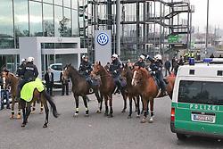 19.11.2011, Volkswagen Arena, Wolfsburg, GER, 1.FBL, VFL Wolfsburg vs Hannover 96, im Bild Berittene Polizei vorm Spiel. // during the match from GER, 1.FBL,VFL Wolfsburg vs Hannover 96 on 2011/11/19, Volkswagen Arena, Wolfsburg, Germany..EXPA Pictures © 2011, PhotoCredit: EXPA/ nph/ Rust..***** ATTENTION - OUT OF GER, CRO *****
