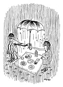 (A picnic in the rain with a couple holding an umbrella over the food)