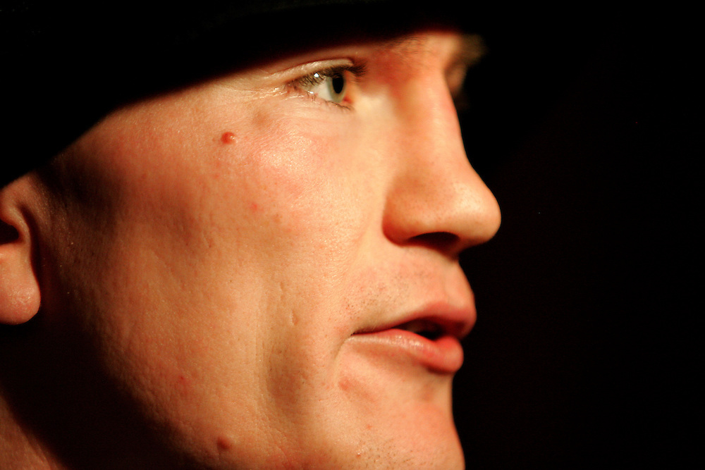Ricky Hatton carries out his last TV interviews behind closed doors. Ricky Hatton v Floyd Mayweather, Las Vegas, Nevada.