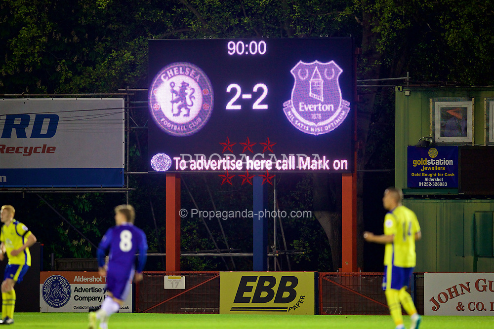 ALDERSHOT, ENGLAND - Friday, April 21, 2017: The Chelsea scoreboard records the 2-2 draw with Everton during FA Premier League 2 Division 1 Under-23 match at the Recreation Ground. (Pic by David Rawcliffe/Propaganda)