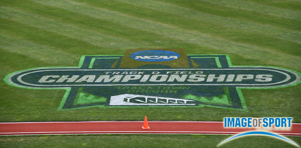 Jun 8, 2018; Eugene, OR, USA; The NCAA Champiionships logo on the infield during the NCAA Track and Field championships at Hayward Field.