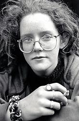 Young woman smoking, Nottingham UK 1990s
