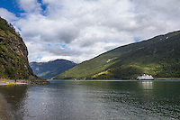 View along Aurlandsfjoden from Flam, Norway - August